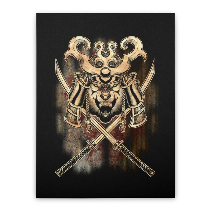 SAMURAI WOLF Home Stretched Canvas by Inkdwell's Artist Shop