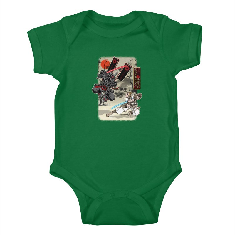 SAMURAI WARS Kids Baby Bodysuit by Inkdwell's Artist Shop