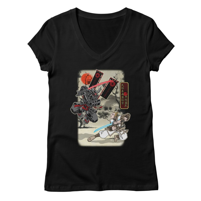 SAMURAI WARS Women's V-Neck by Inkdwell's Artist Shop