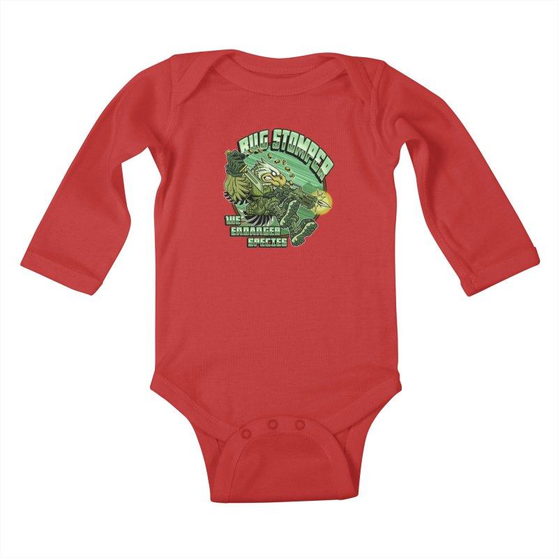 BUG STOMPER! Kids Baby Longsleeve Bodysuit by Inkdwell's Artist Shop