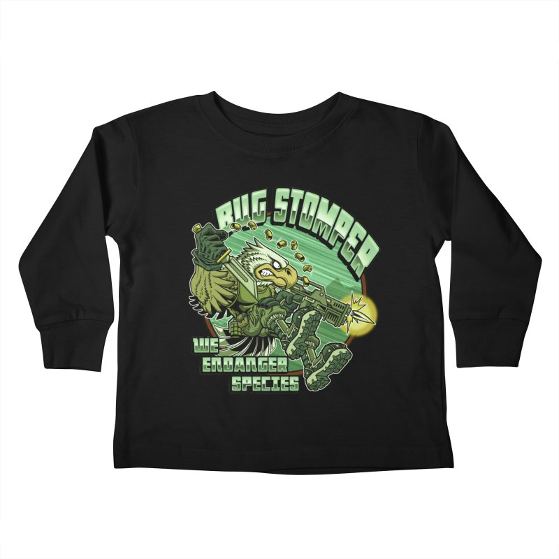 BUG STOMPER! Kids Toddler Longsleeve T-Shirt by Inkdwell's Artist Shop