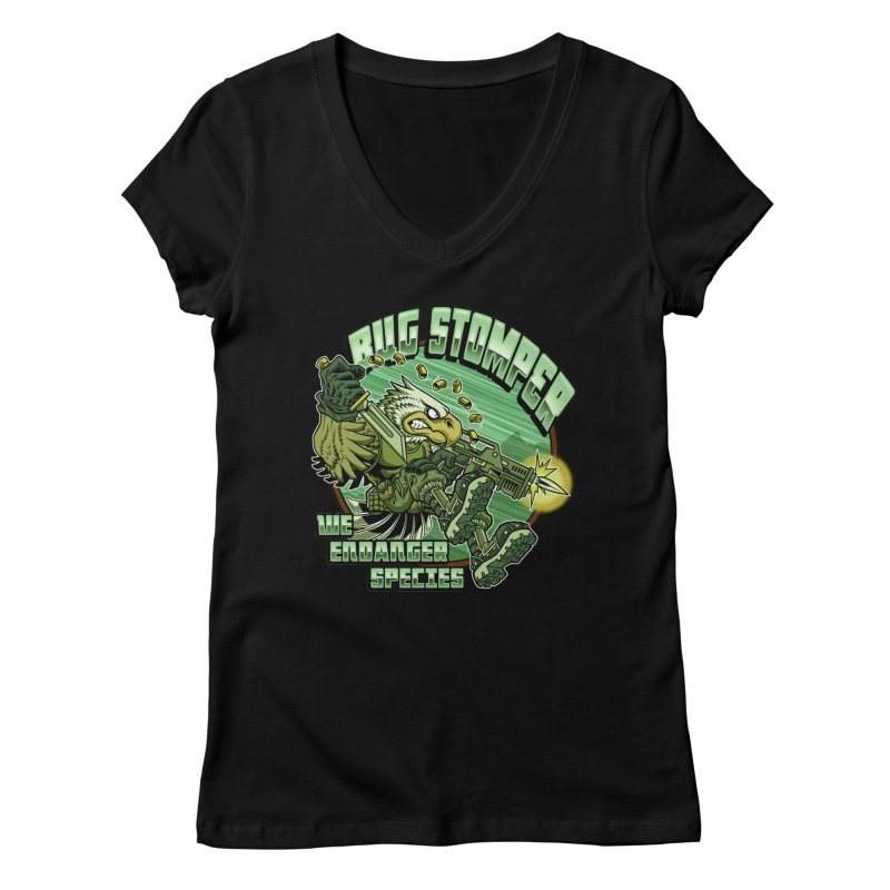 BUG STOMPER! Women's V-Neck by Inkdwell's Artist Shop