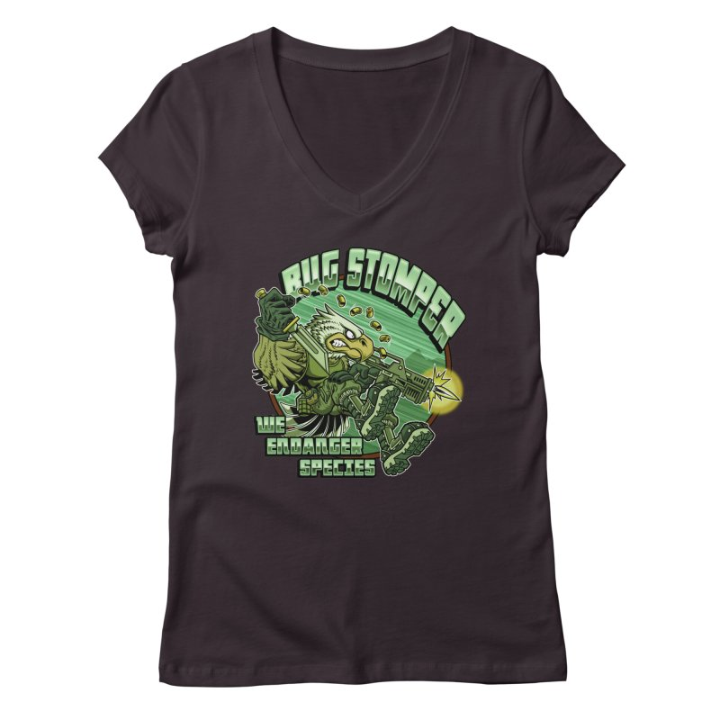 BUG STOMPER! Women's Regular V-Neck by Inkdwell's Artist Shop