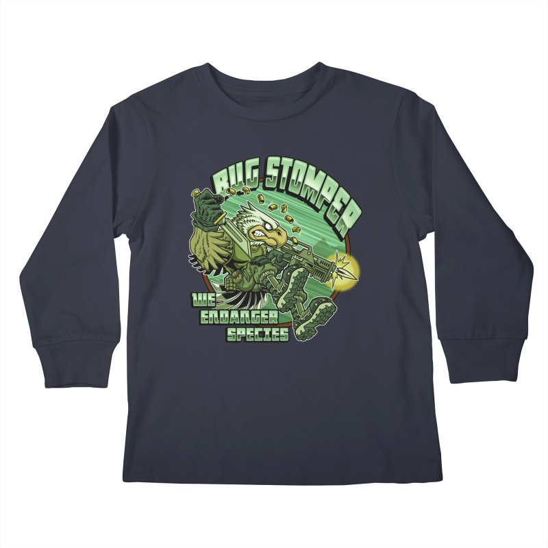 BUG STOMPER! Kids Longsleeve T-Shirt by Inkdwell's Artist Shop
