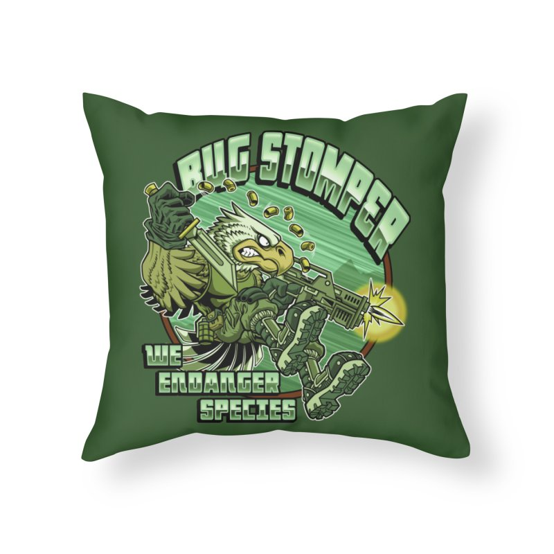 BUG STOMPER! Home Throw Pillow by Inkdwell's Artist Shop