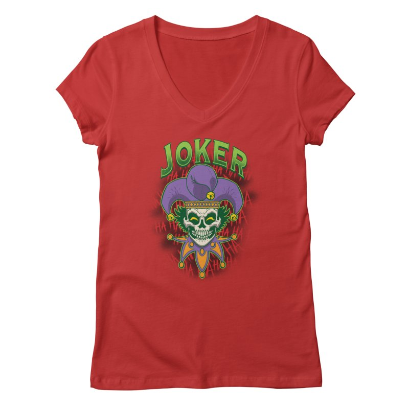 JOKER Women's Regular V-Neck by Inkdwell's Artist Shop