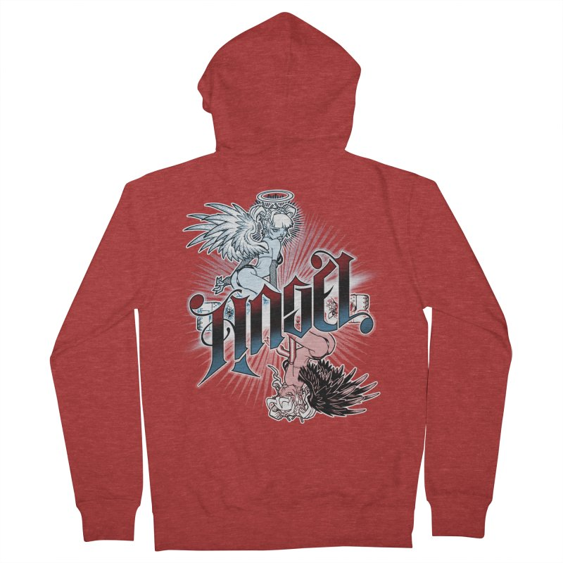 ANGEL DEVIL Men's French Terry Zip-Up Hoody by Inkdwell's Artist Shop