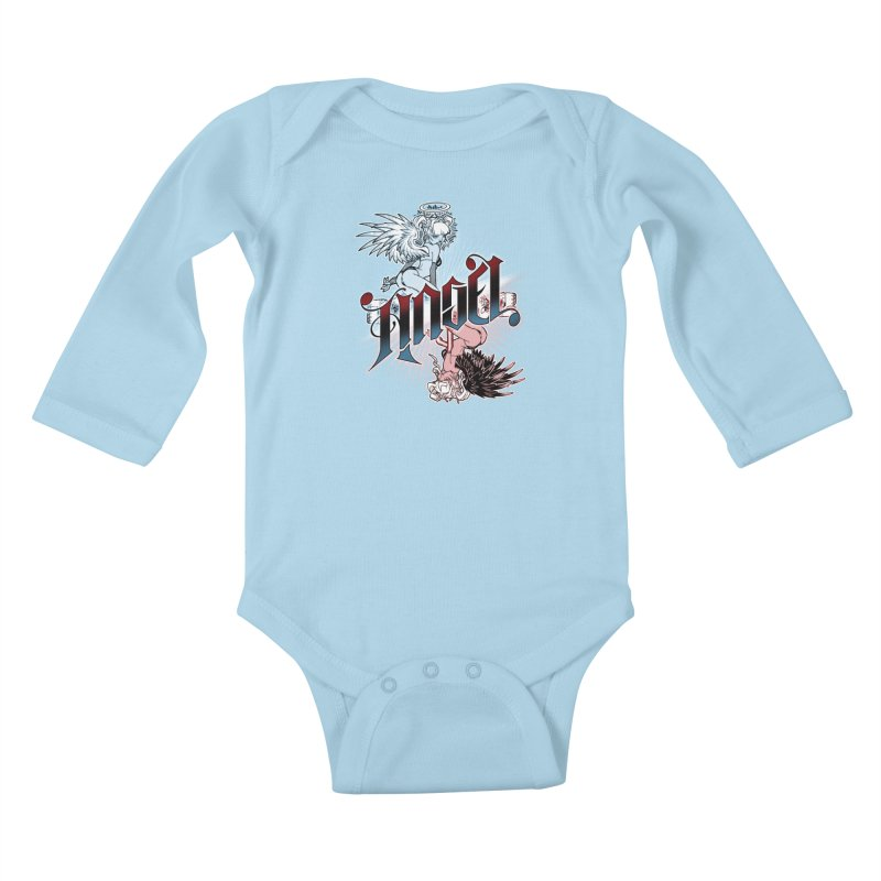 ANGEL DEVIL Kids Baby Longsleeve Bodysuit by Inkdwell's Artist Shop