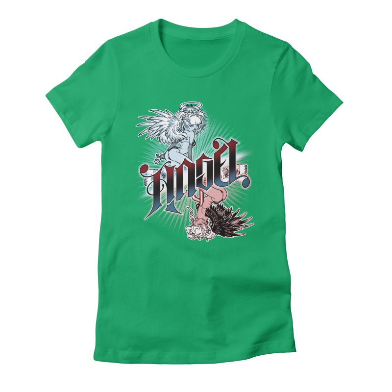 ANGEL DEVIL Women's Fitted T-Shirt by Inkdwell's Artist Shop
