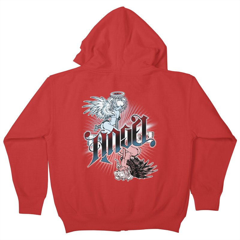 ANGEL DEVIL Kids Zip-Up Hoody by Inkdwell's Artist Shop