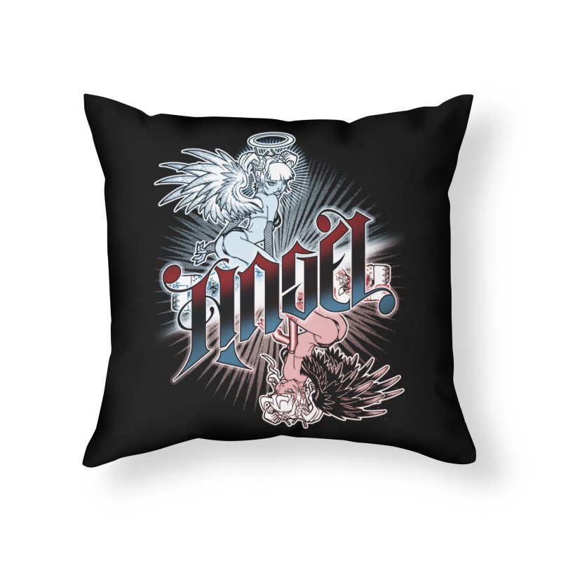 ANGEL DEVIL Home Throw Pillow by Inkdwell's Artist Shop