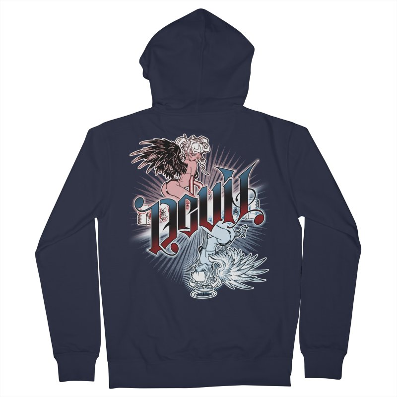 DEVIL ANGEL Women's French Terry Zip-Up Hoody by Inkdwell's Artist Shop