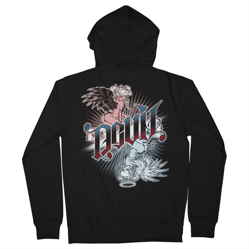 DEVIL ANGEL Men's French Terry Zip-Up Hoody by Inkdwell's Artist Shop