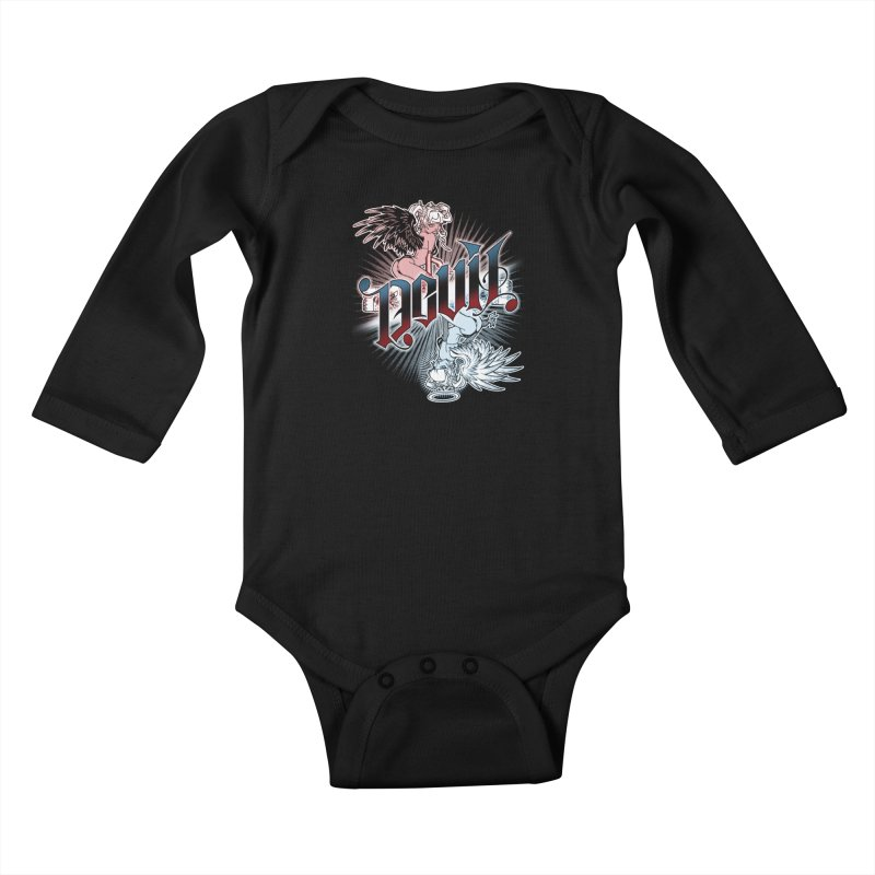 DEVIL ANGEL Kids Baby Longsleeve Bodysuit by Inkdwell's Artist Shop