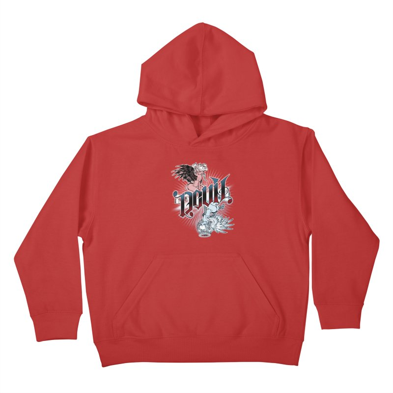 DEVIL ANGEL Kids Pullover Hoody by Inkdwell's Artist Shop