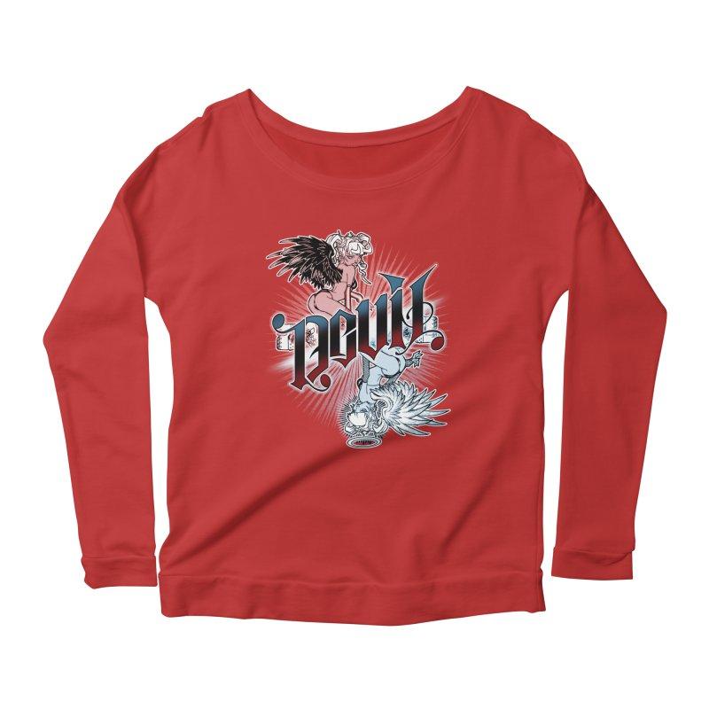 DEVIL ANGEL Women's Scoop Neck Longsleeve T-Shirt by Inkdwell's Artist Shop