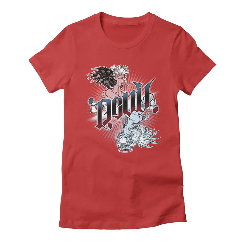 DEVIL ANGEL Women's Fitted T-Shirt by Inkdwell's Artist Shop
