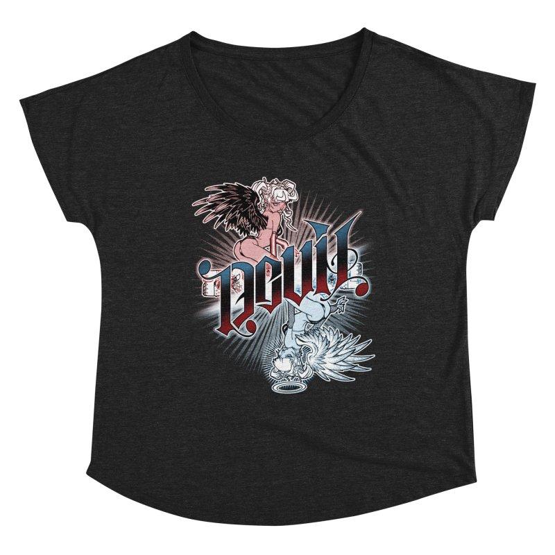 DEVIL ANGEL Women's Scoop Neck by Inkdwell's Artist Shop