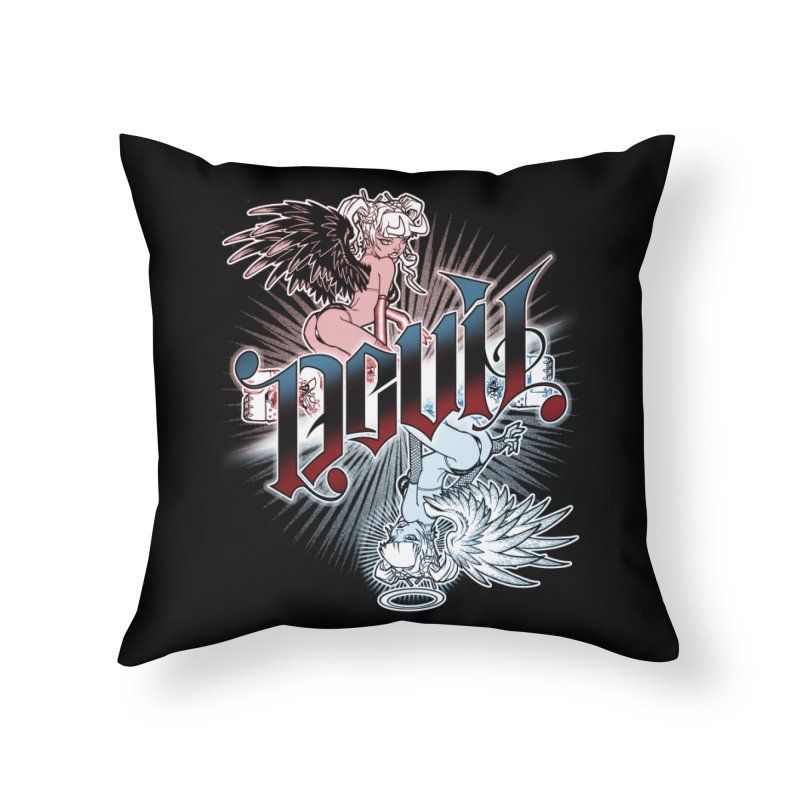 DEVIL ANGEL Home Throw Pillow by Inkdwell's Artist Shop