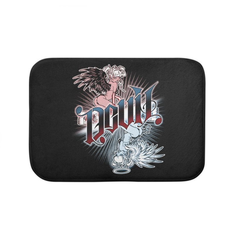 DEVIL ANGEL Home Bath Mat by Inkdwell's Artist Shop