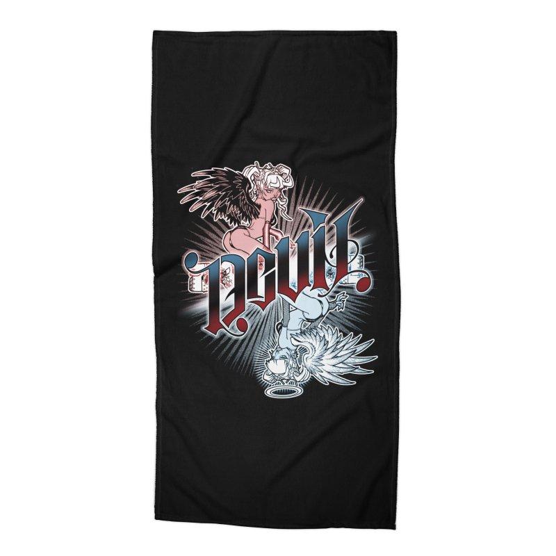 DEVIL ANGEL Accessories Beach Towel by Inkdwell's Artist Shop