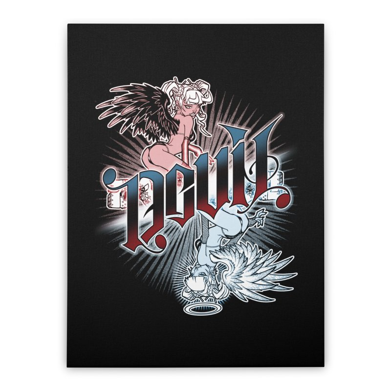 DEVIL ANGEL Home Stretched Canvas by Inkdwell's Artist Shop