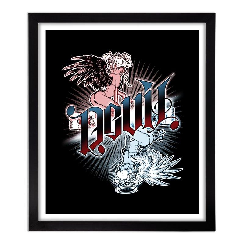 DEVIL ANGEL Home Framed Fine Art Print by Inkdwell's Artist Shop