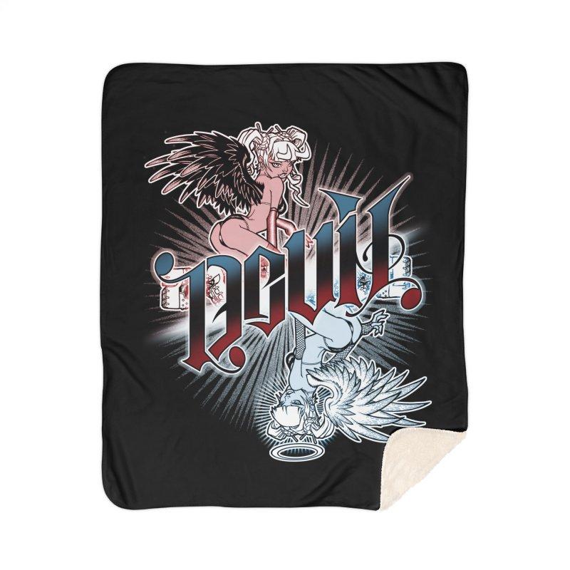 DEVIL ANGEL Home Sherpa Blanket Blanket by Inkdwell's Artist Shop
