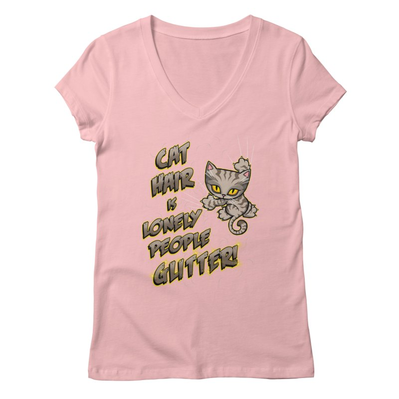 CAT HAIR!!! Women's V-Neck by Inkdwell's Artist Shop