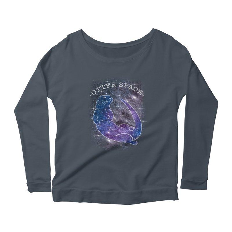 -SPACE OTTER1- Women's Longsleeve Scoopneck  by Inkdwell's Artist Shop