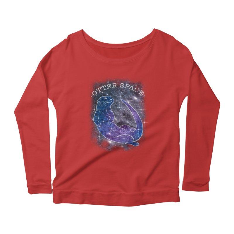 -SPACE OTTER1- Women's Scoop Neck Longsleeve T-Shirt by Inkdwell's Artist Shop