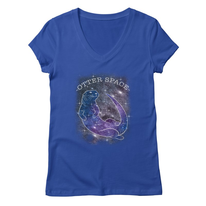 -SPACE OTTER1- Women's V-Neck by Inkdwell's Artist Shop