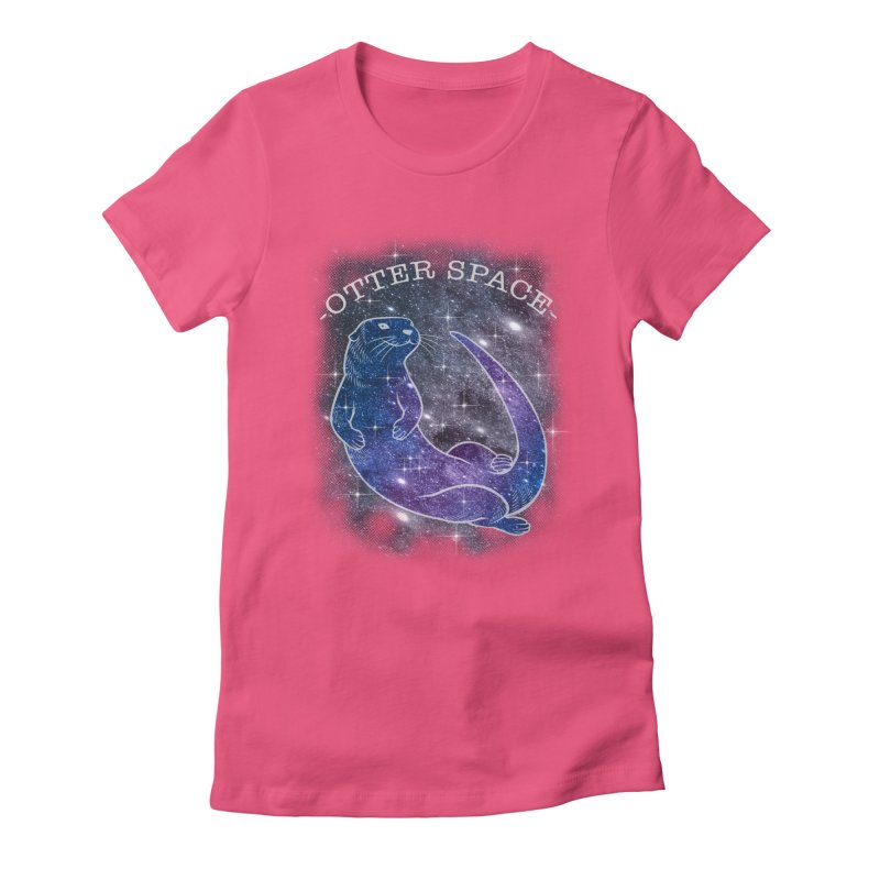 -SPACE OTTER1- Women's Fitted T-Shirt by Inkdwell's Artist Shop