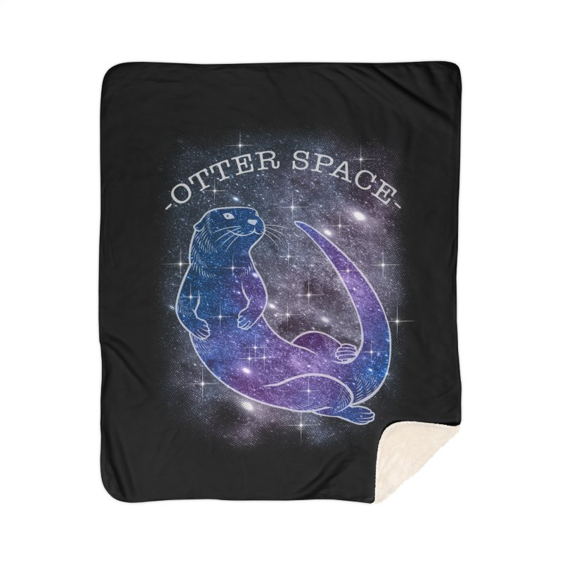 -SPACE OTTER1- Home Sherpa Blanket Blanket by Inkdwell's Artist Shop