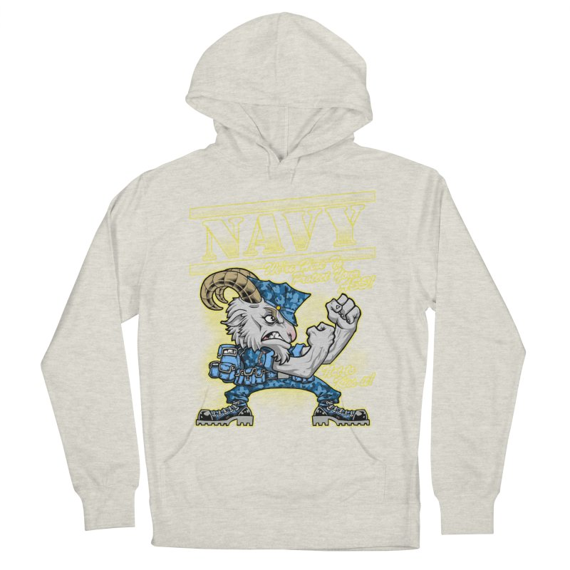 NAVY GOAT! Women's French Terry Pullover Hoody by Inkdwell's Artist Shop