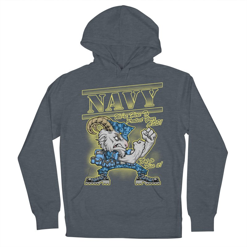 NAVY GOAT! Men's French Terry Pullover Hoody by Inkdwell's Artist Shop