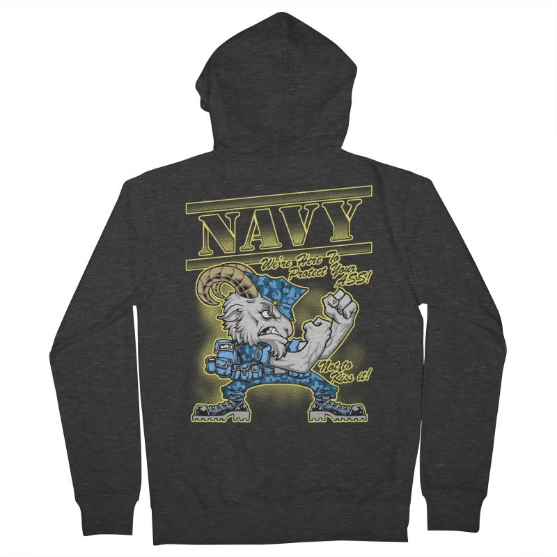 NAVY GOAT! Men's French Terry Zip-Up Hoody by Inkdwell's Artist Shop