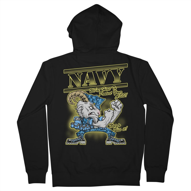 NAVY GOAT! Men's Zip-Up Hoody by Inkdwell's Artist Shop