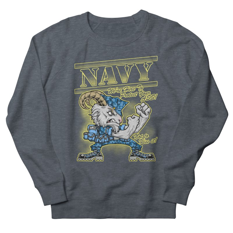NAVY GOAT! Men's French Terry Sweatshirt by Inkdwell's Artist Shop