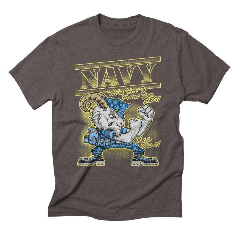 NAVY GOAT! Men's Triblend T-Shirt by Inkdwell's Artist Shop