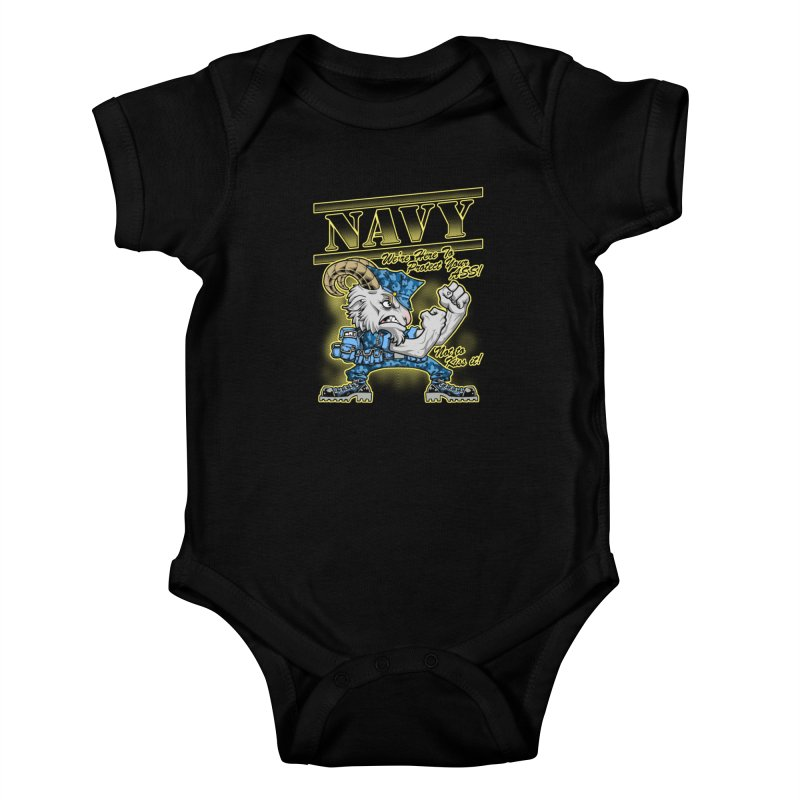 NAVY GOAT! Kids Baby Bodysuit by Inkdwell's Artist Shop
