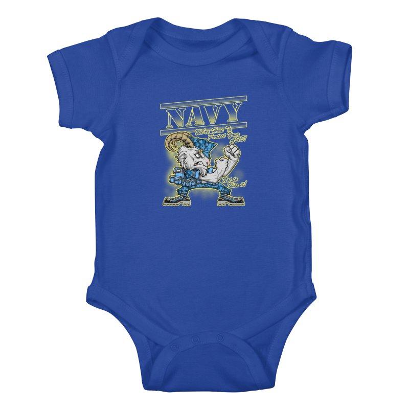 NAVY GOAT! Kids Baby Bodysuit by Inkdwell's Artist Shop