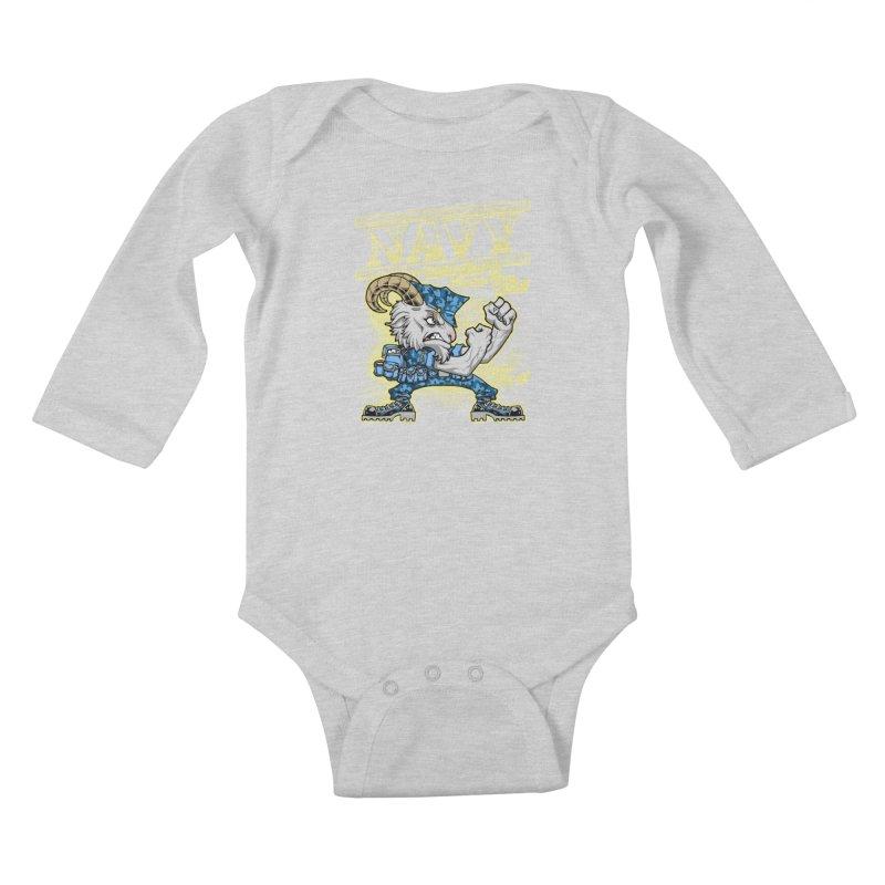 NAVY GOAT! Kids Baby Longsleeve Bodysuit by Inkdwell's Artist Shop