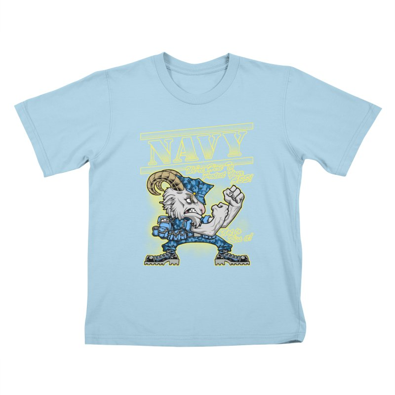 NAVY GOAT! Kids T-Shirt by Inkdwell's Artist Shop