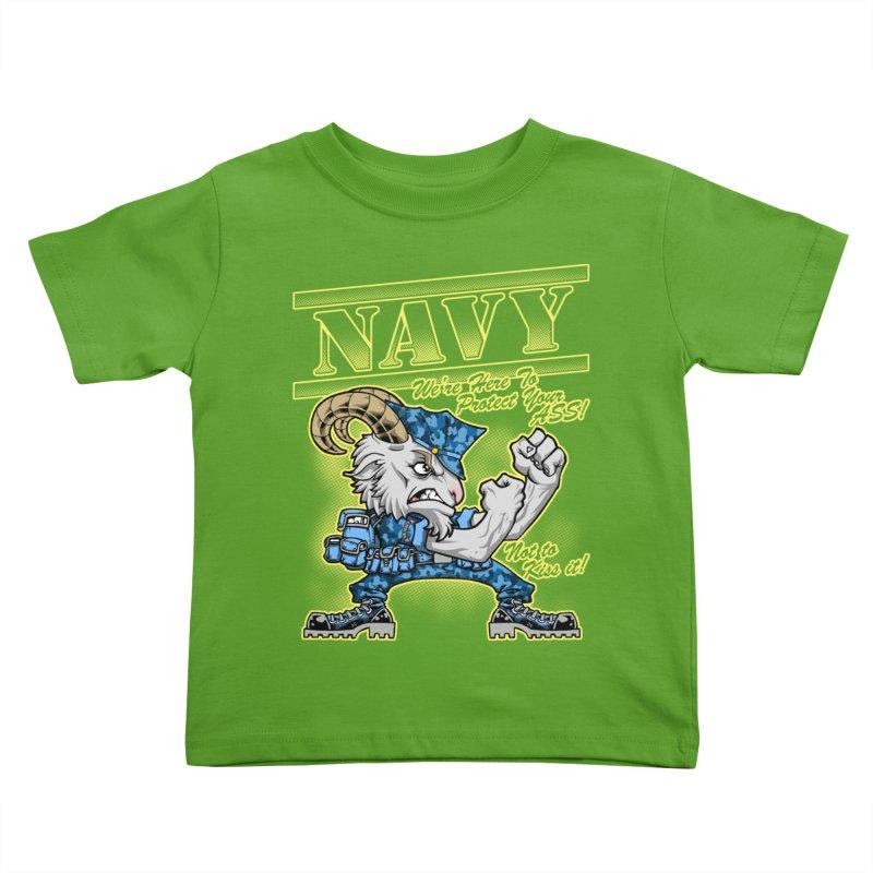 NAVY GOAT! Kids Toddler T-Shirt by Inkdwell's Artist Shop