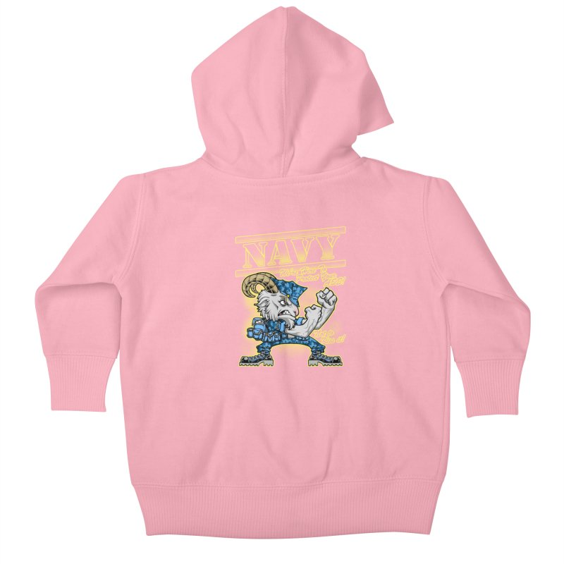 NAVY GOAT! Kids Baby Zip-Up Hoody by Inkdwell's Artist Shop