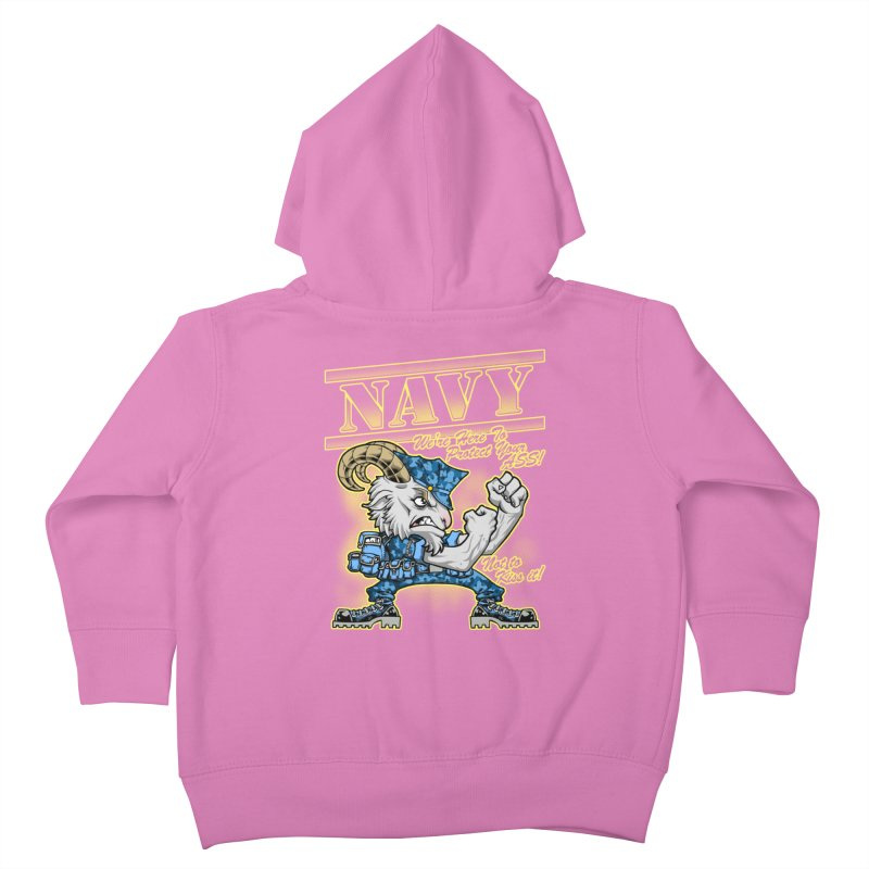 NAVY GOAT! Kids Toddler Zip-Up Hoody by Inkdwell's Artist Shop