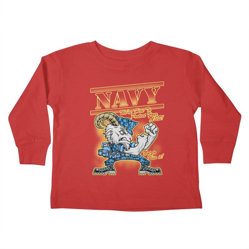 NAVY GOAT! Kids Toddler Longsleeve T-Shirt by Inkdwell's Artist Shop