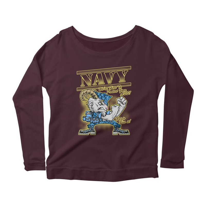 NAVY GOAT! Women's Scoop Neck Longsleeve T-Shirt by Inkdwell's Artist Shop