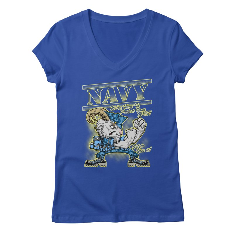 NAVY GOAT! Women's V-Neck by Inkdwell's Artist Shop